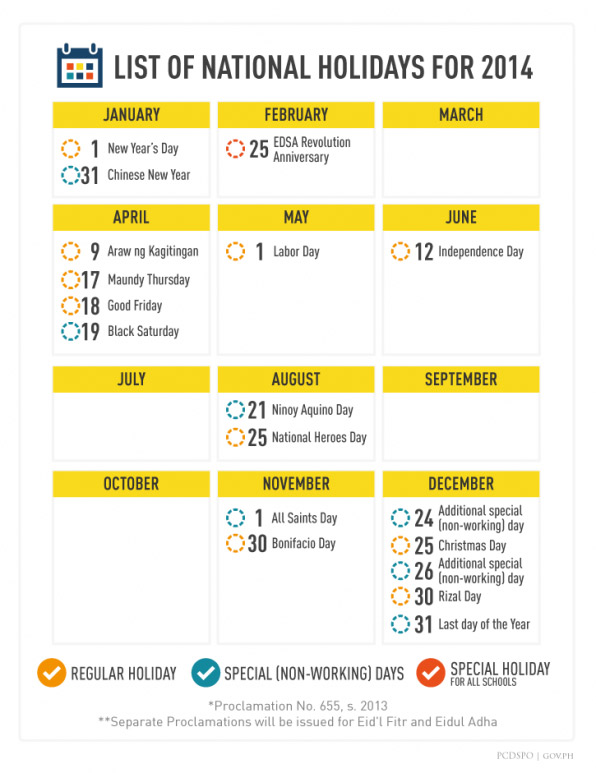 2014 Philippine Holidays