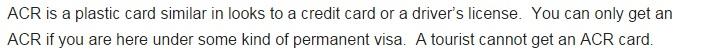 ACR-I Tourist cannot get an ACR card