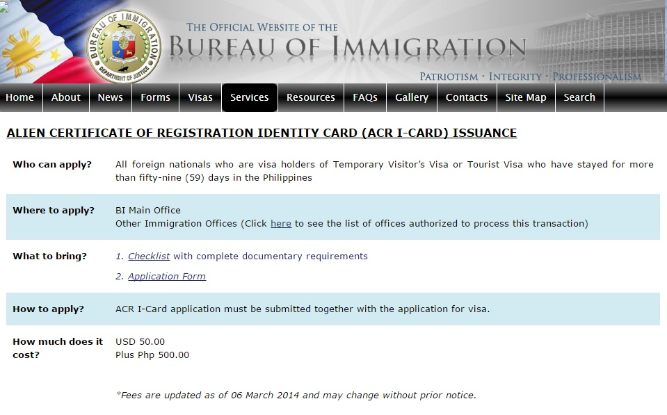 Alien Certificate of Registration – Philippines Information