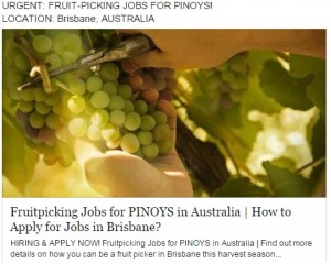 Australian Fruit Picking Jobs for Pinoys