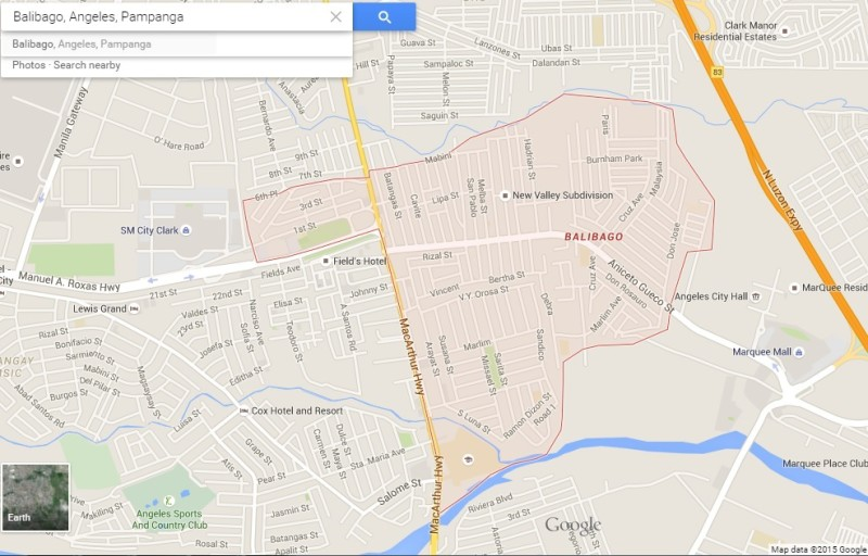 Balibago-Area-map-according-to-Google – Philippines Information on filipino dancers in angeles city, lost in asia angeles city, mirrors club angeles city,