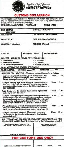 Customs declaration ph philippines information customs declaration ph altavistaventures Images