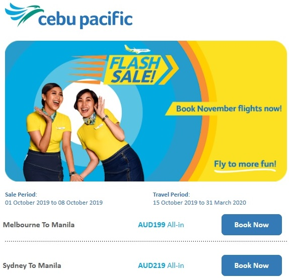 Flights Australia to Manila 2019-20
