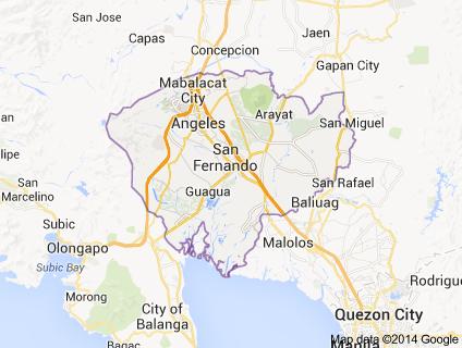 Map Pampanga province, Luzon