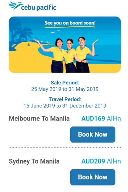 Australia to Manila Flights