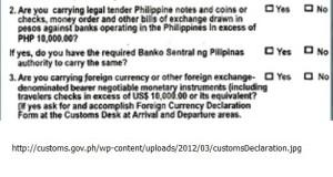 Philippines Customs declaration form