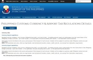 Philippines Customs declaration rules